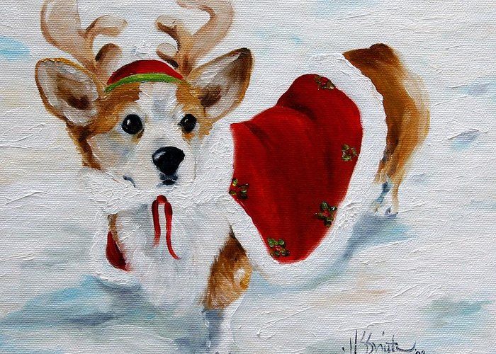 Art Greeting Card featuring the painting White Christmas by Mary Sparrow