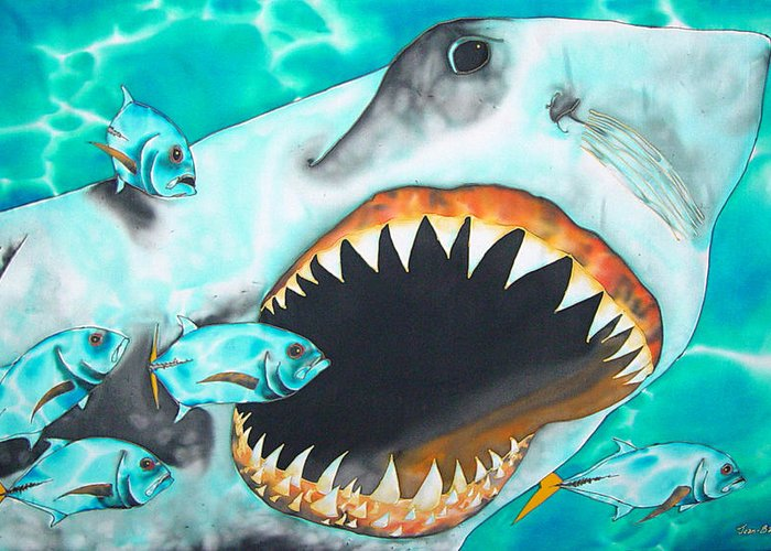 Shark Painting Greeting Card featuring the painting White by Daniel Jean-Baptiste