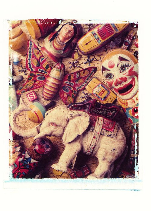 White Elephant Old Toys Antiques Clown Butterfly Top Monkey Indian Greeting Card featuring the photograph White Elephant by Garry Gay