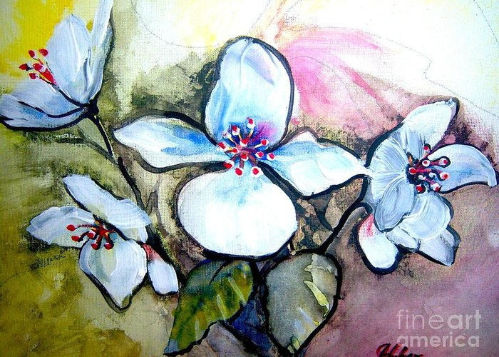 Flowers Greeting Card featuring the painting White Floral Group by Ken Huber