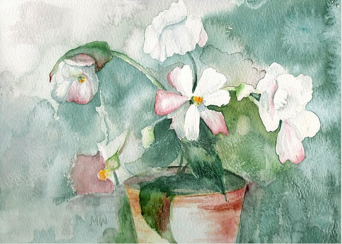 Flowers Greeting Card featuring the painting White Flowers by Marsha Woods