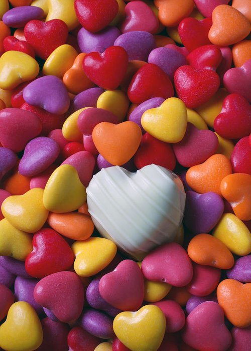 White Heart Candy Candies Love Greeting Card featuring the photograph White Heart Candy by Garry Gay