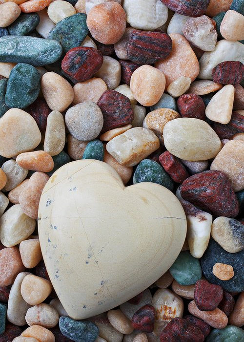 White Heart Hearts Greeting Card featuring the photograph White Heart Stone by Garry Gay
