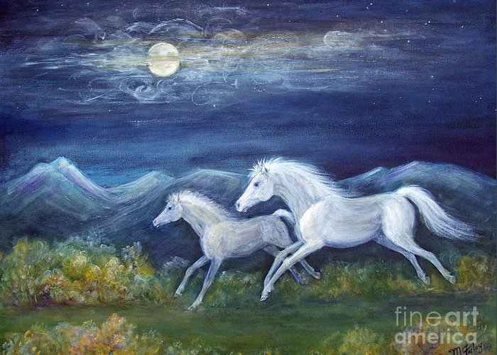 Horse Greeting Card featuring the painting White Horses In Moonlight by Maureen Ida Farley