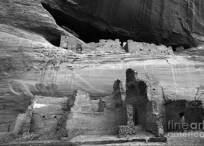 White House Greeting Card featuring the photograph White House Ruin Canyon De Chelly Monochrome by Bob Christopher