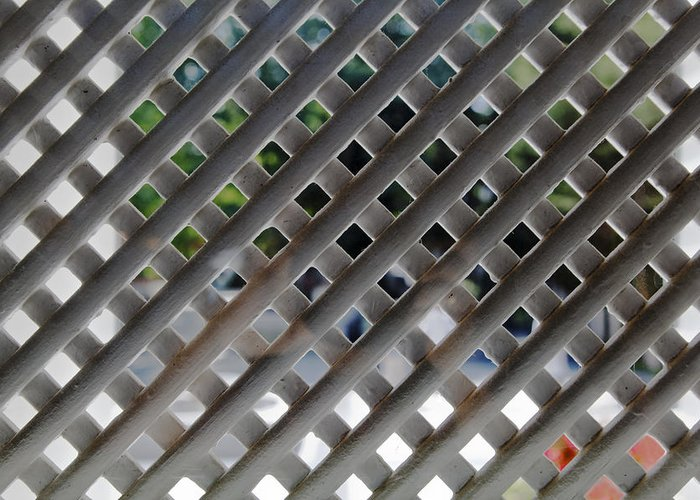 Interesting Greeting Card featuring the photograph White Lattice Screen by Kantilal Patel