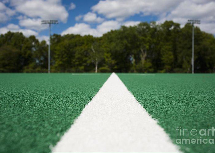 Artificial Grass Greeting Card featuring the photograph White Line On An Athletic Field by Sam Bloomberg-rissman