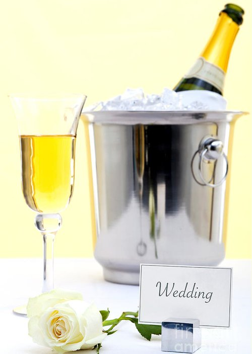 Champagne Greeting Card featuring the photograph White Rose And Champagne by Richard Thomas