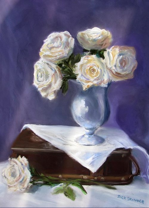 Flowers Greeting Card featuring the painting White Roses In A Silver Vase by Jack Skinner