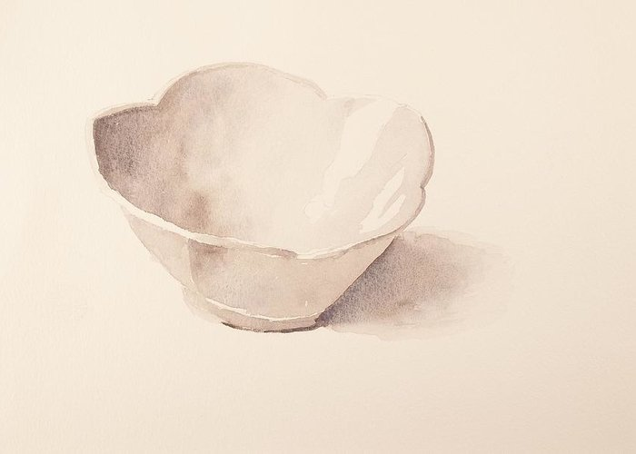 Walt Maes Greeting Card featuring the painting White Tulip Bowl by Walt Maes