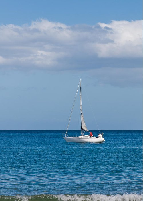 Active Greeting Card featuring the photograph White Yacht Sails In The Sea Along The Coast Line by Ulrich Schade
