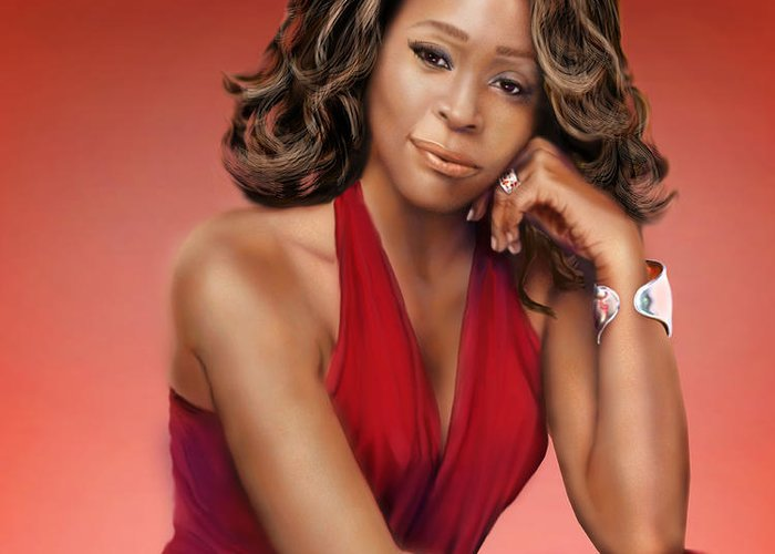 Super Star Greeting Card featuring the painting Whitney Houston by Reggie Duffie