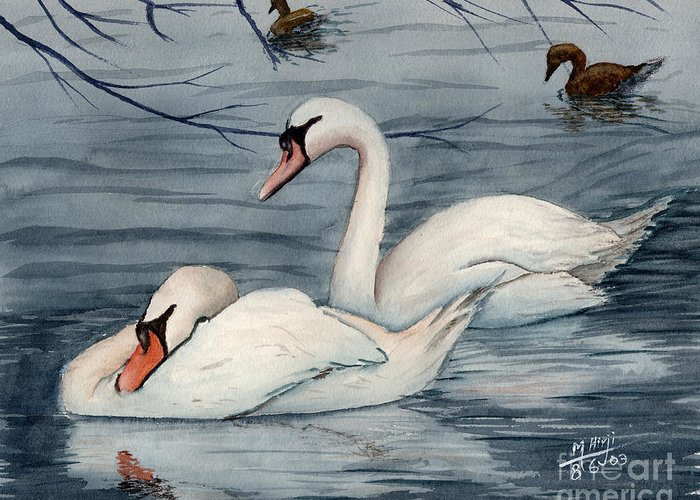 Swans Greeting Card featuring the painting Who Is Minding The Kids by Mohamed Hirji