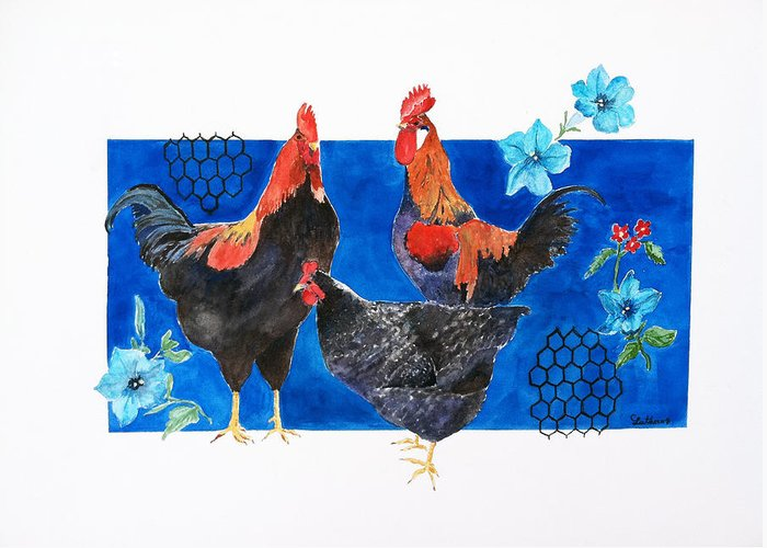 Barnyard Animal Greeting Card featuring the painting Who Rules by Christine Lathrop