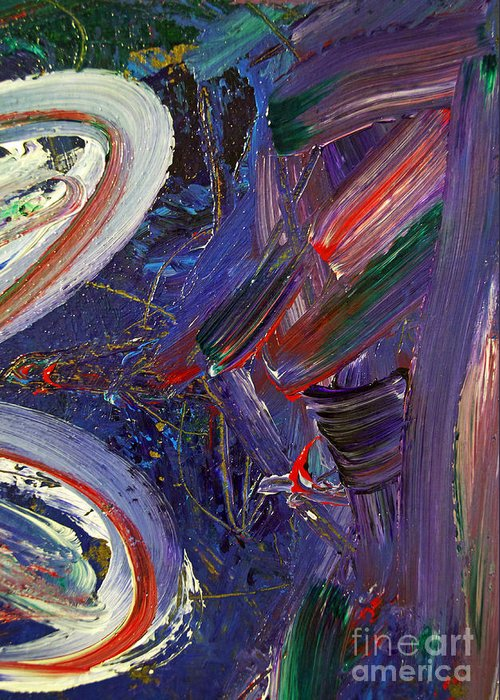 Abstract Greeting Card featuring the painting Who Sees ... by Gwyn Newcombe