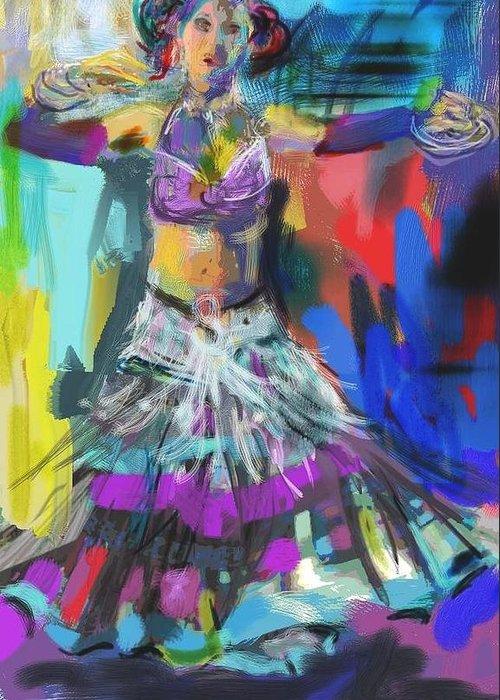 Dancer Greeting Card featuring the digital art Wild Belly Dancer by Barbara Kelley