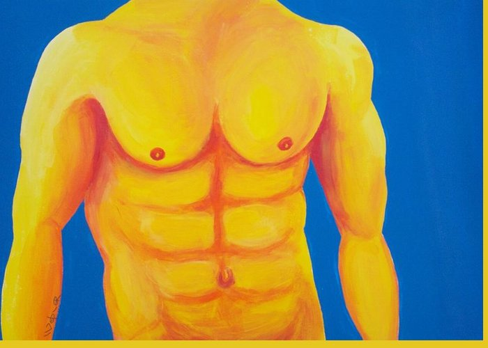 Male Nude Greeting Card featuring the painting Wild Blue Yonder by Randall Weidner