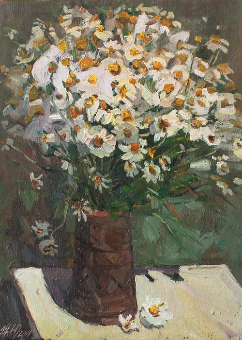 (canvas Greeting Card featuring the painting Wild Chamomile by Juliya Zhukova