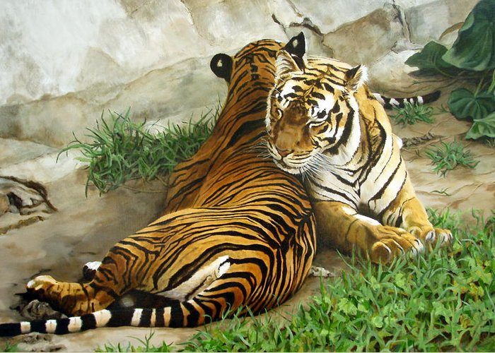 Tiger Greeting Card featuring the painting Wild Content by Sandra Chase