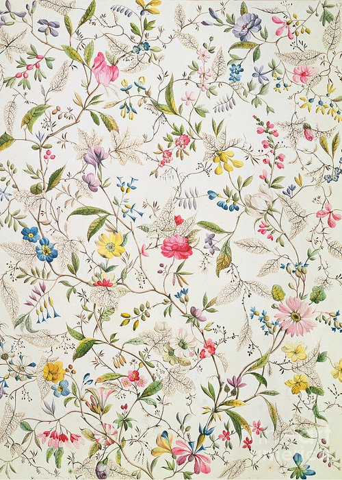 Kilburn Greeting Card featuring the painting Wild Flowers Design For Silk Material by William Kilburn