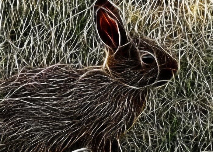 Wild Greeting Card featuring the digital art Wild Rabbit by Maciek Froncisz
