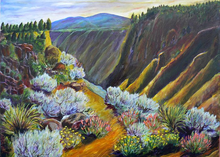 Wild Rivers Greeting Card featuring the painting Wild Rivers New Mexico by Mark Malone