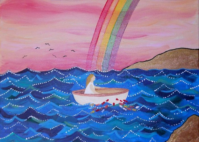 Naive Greeting Card featuring the painting Wilka by Monica Moser