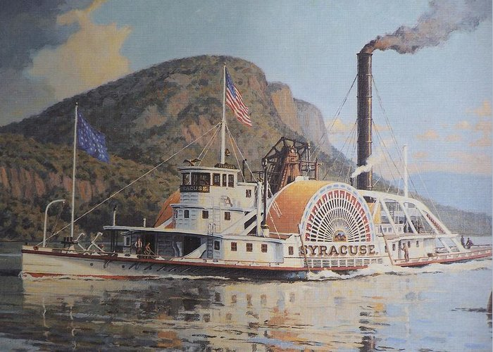 William G Muller Greeting Card featuring the photograph William G Muller Lithograph Towboat Syracuse by Jake Hartz