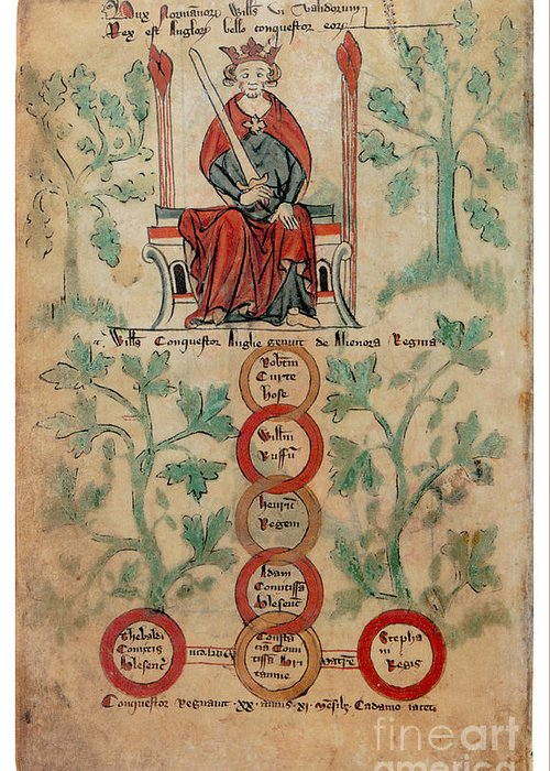 Genealogy Greeting Card featuring the photograph William The Conqueror Family Tree by Photo Researchers