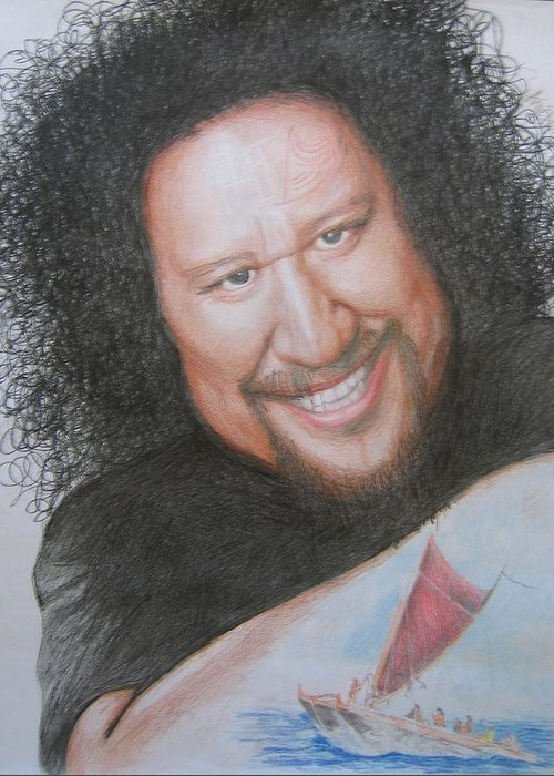 Native Hawaiian Musician Portrait Greeting Card featuring the drawing Willie K -hui O Wa'a by Anne Provost
