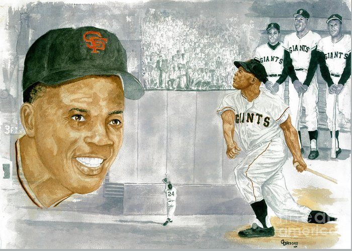 Willie Mays Greeting Card featuring the painting Willie Mays - The Greatest by George Brooks