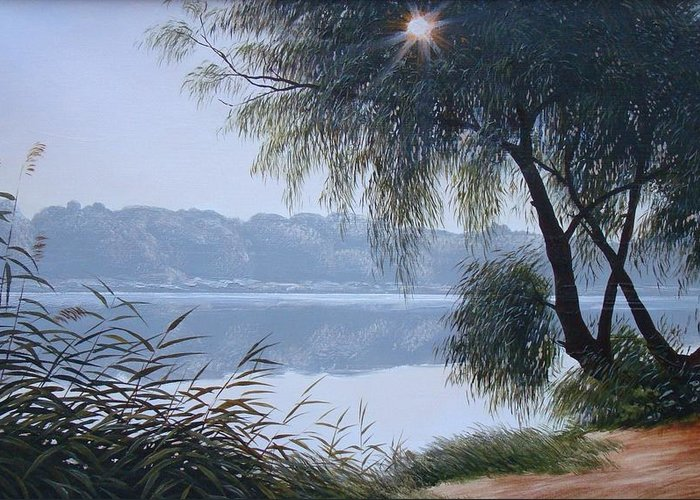 Oil On Canvas Greeting Card featuring the painting Willow by Oleg Bylgakov