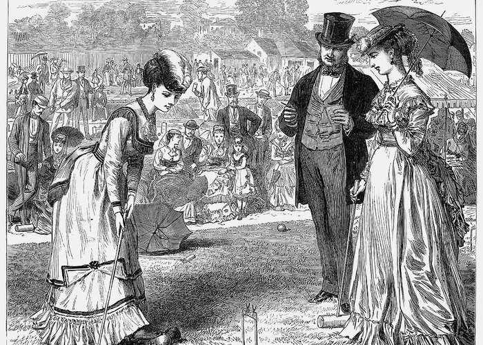 1870 Greeting Card featuring the photograph Wimbledon: Croquet, 1870 by Granger