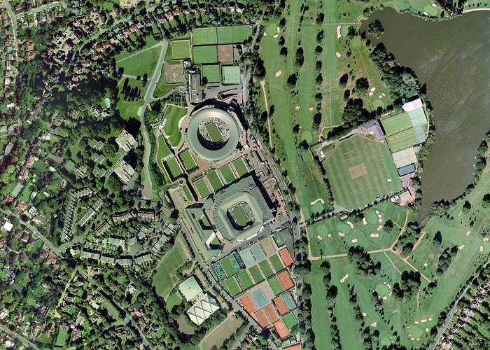 Wimbledon Greeting Card featuring the photograph Wimbledon Tennis Complex, Uk by Getmapping Plc