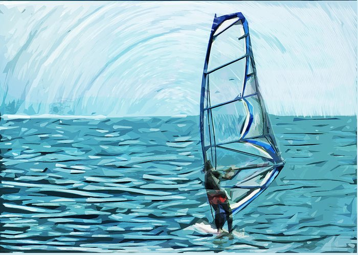 Wind Surf Greeting Card featuring the digital art Wind Surfer by Tilly Williams