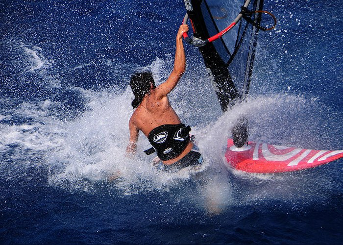 Sea Greeting Card featuring the photograph Wind Surfing by Manolis Tsantakis