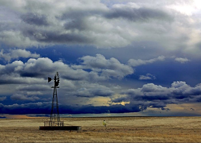 Windmill Greeting Card featuring the photograph Windmill And Angry Skies by Russell Miller