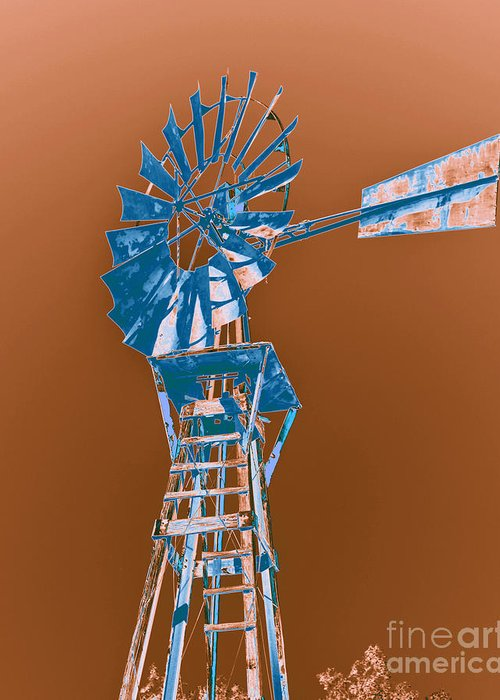 Windmill Greeting Card featuring the photograph Windmill Blue by Rebecca Margraf