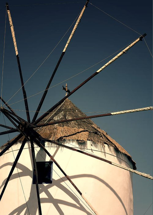 Mill Greeting Card featuring the photograph windmill Greece by Joana Kruse