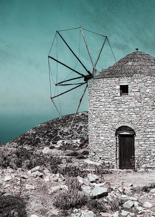 Naxos Greeting Card featuring the photograph Windmill by Joana Kruse