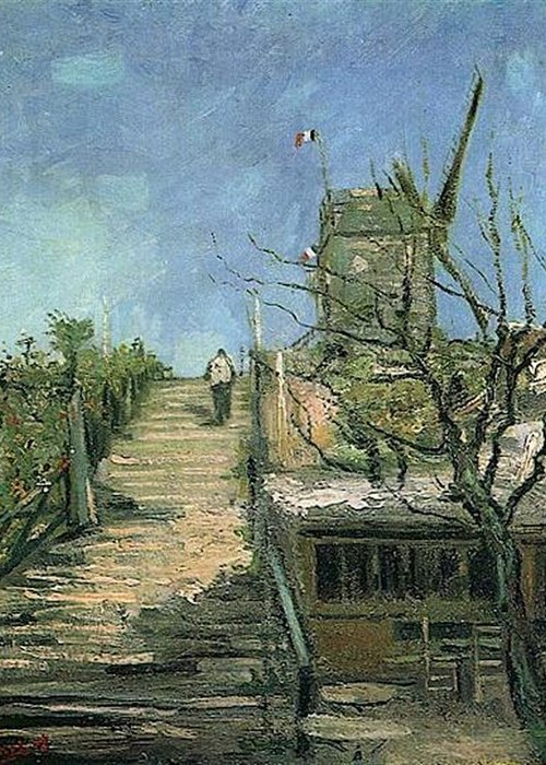 Windmill On Montmartre Greeting Card featuring the digital art Windmill On Montmartre by Vincent Van Gogh