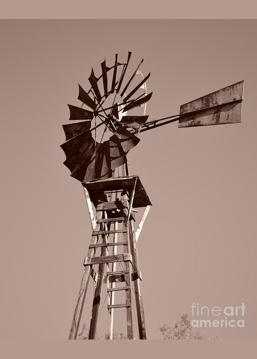 Windmill Greeting Card featuring the photograph Windmill Sepia by Rebecca Margraf