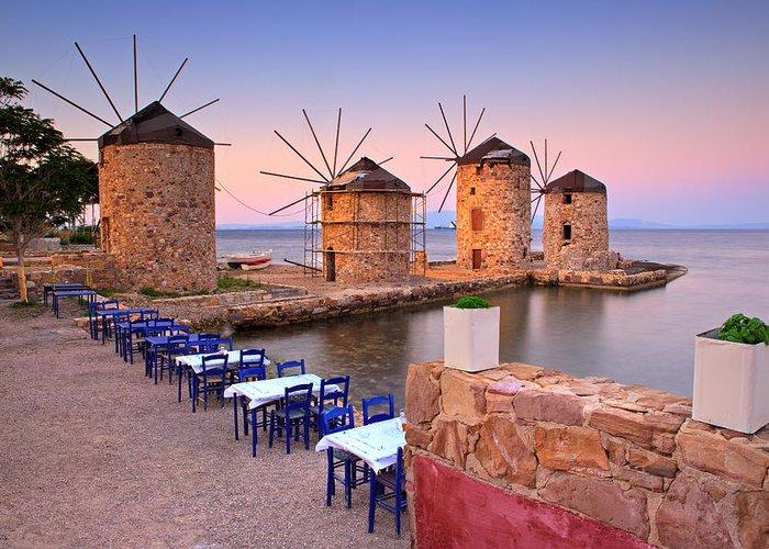 Agios Isidoros Greeting Card featuring the photograph Windmills 2 by Emmanuel Panagiotakis
