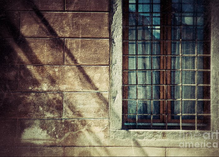 Architecture Greeting Card featuring the photograph Window And Long Shadows by Silvia Ganora
