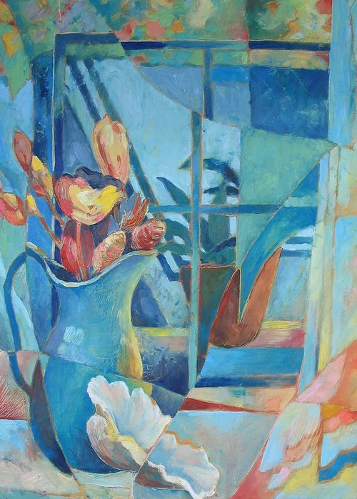 Still Life Greeting Card featuring the painting Window In Blue by Susanne Clark