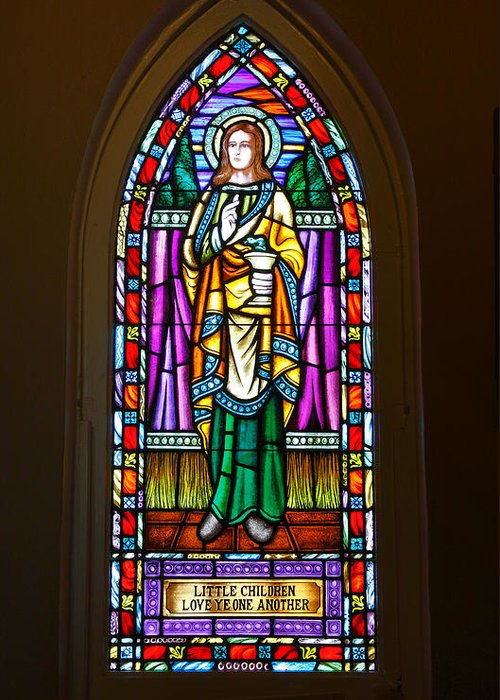 Stained Glass Greeting Card featuring the photograph Window In Trinity Church V by Steven Ainsworth