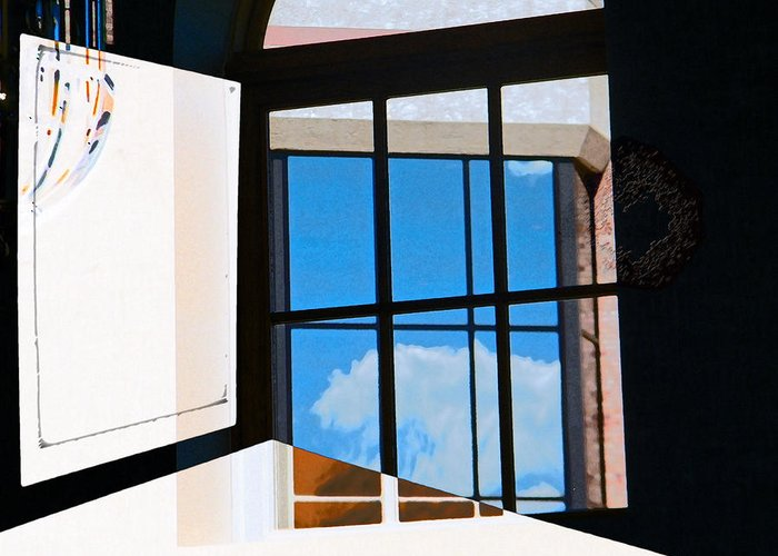 Abstract Greeting Card featuring the photograph Window Treatment by Lenore Senior
