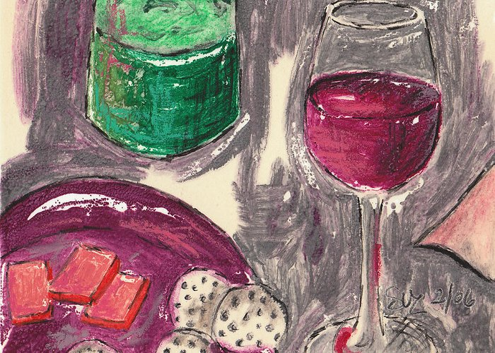 Red Wine Greeting Card featuring the mixed media Wine And Cheese by Suzanne Blender
