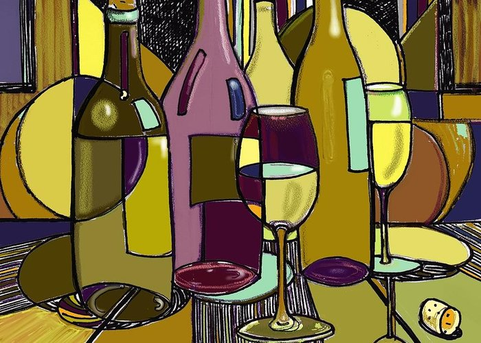 Wine Bottles Greeting Card featuring the drawing Wine Bottle Deco by Peggy Wilson