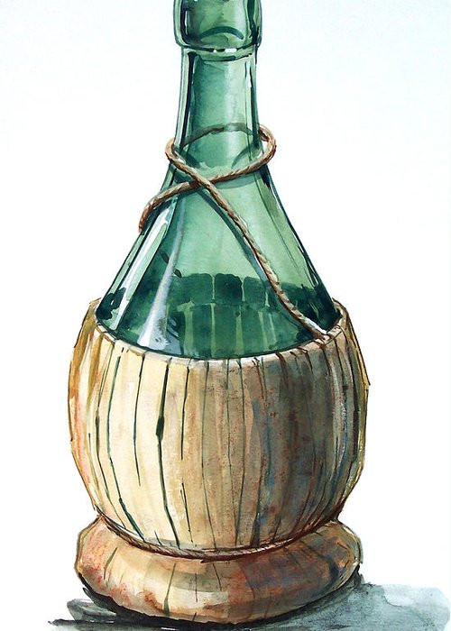 Water Color Greeting Card featuring the drawing Wine Bottle by Olin McKay